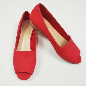 Red Peep Toe Flats